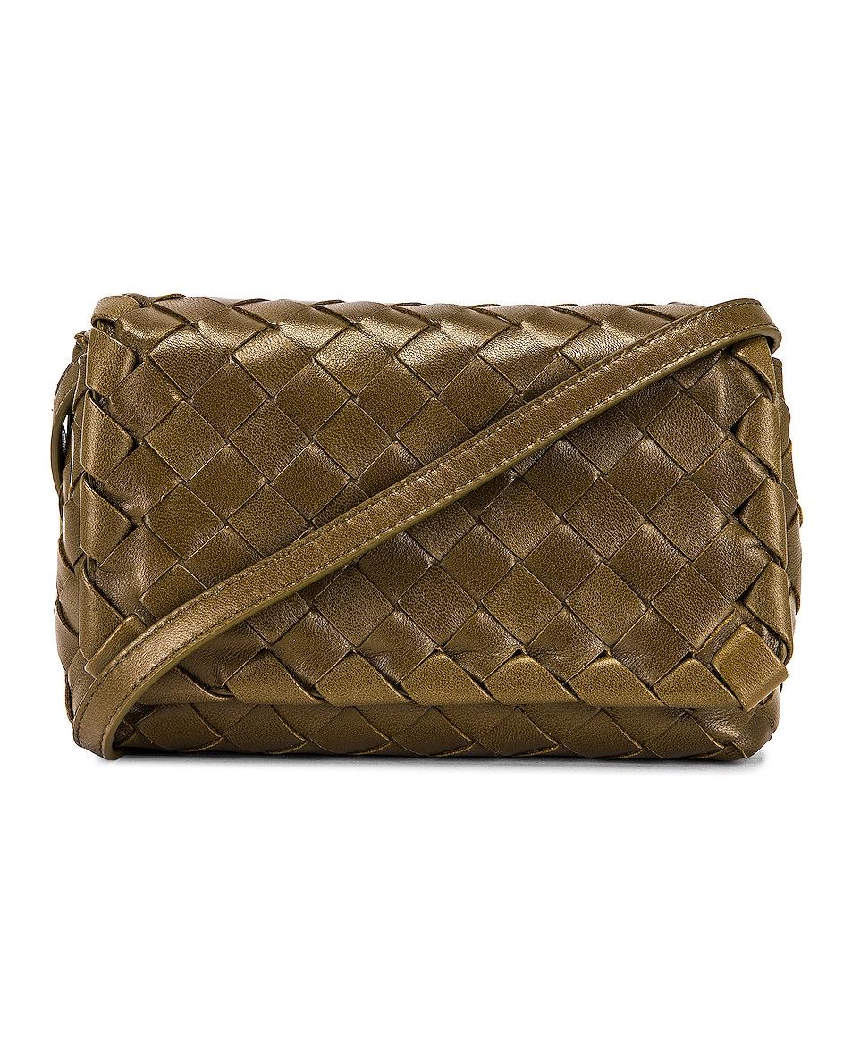 Bottega Veneta Leather Woven Crossbody Bag In Mud & Gold