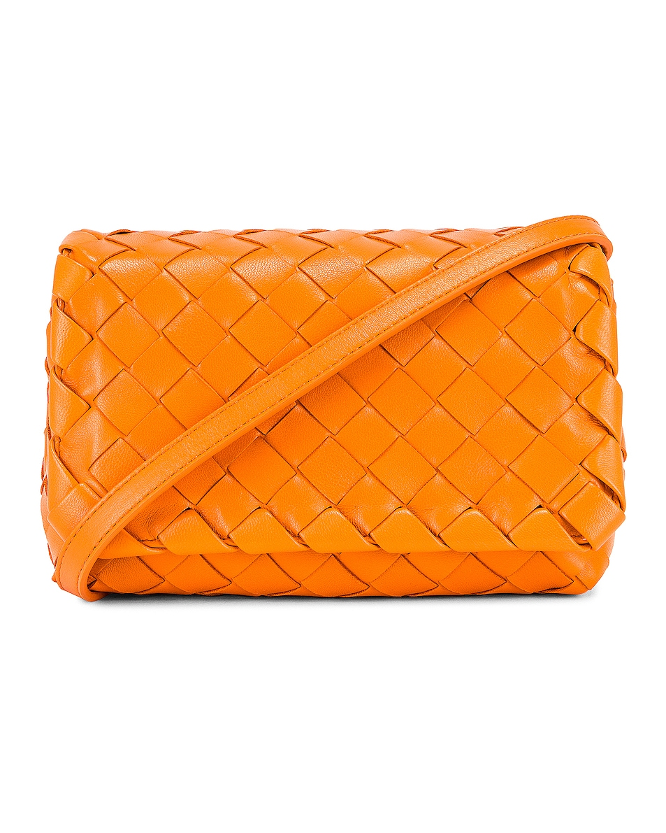 Image 1 of Bottega Veneta Leather Woven Crossbody Bag in Light Orange & Gold