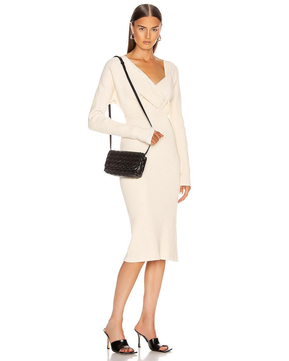 Image 2 of Bottega Veneta Leather Woven Crossbody Bag in Black & Gold