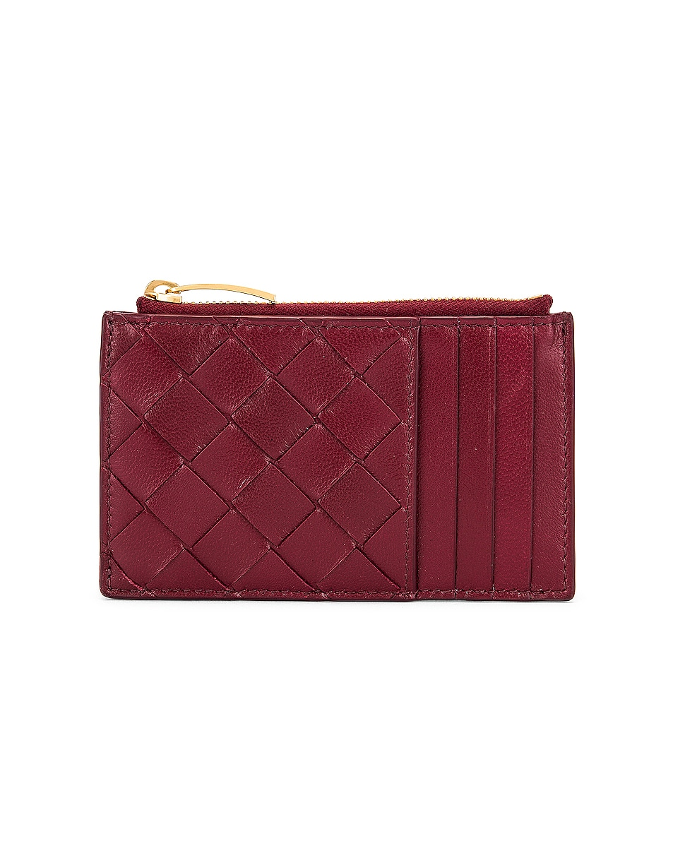 Image 1 of Bottega Veneta Leather Woven Long Card Case Wallet in Bordeaux & Gold