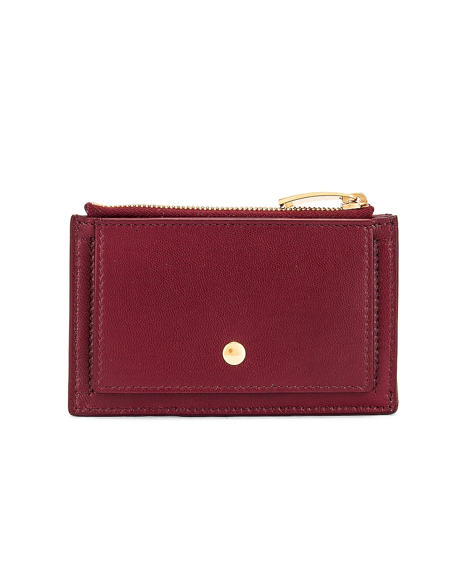 Image 2 of Bottega Veneta Leather Woven Long Card Case Wallet in Bordeaux & Gold