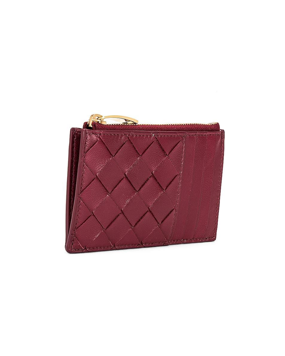 Image 3 of Bottega Veneta Leather Woven Long Card Case Wallet in Bordeaux & Gold