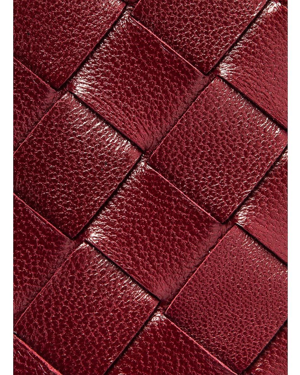 Image 6 of Bottega Veneta Leather Woven Long Card Case Wallet in Bordeaux & Gold