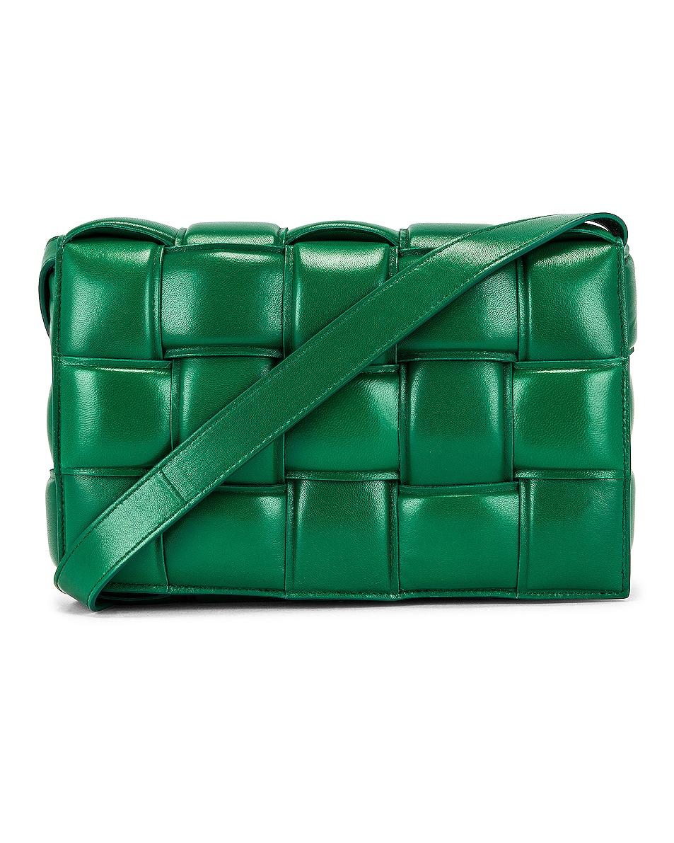 Image 1 of Bottega Veneta Padded Cassette Bag in Racing Green & Gold