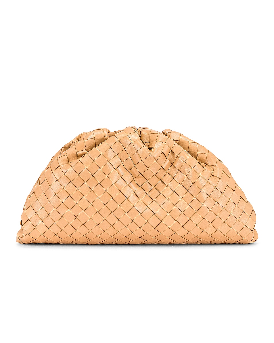 Image 1 of Bottega Veneta Woven The Pouch Clutch in Almond & Gold