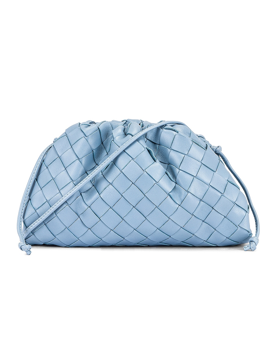 Image 1 of Bottega Veneta Woven The Pouch 20 Clutch Bag in Ice & Silver