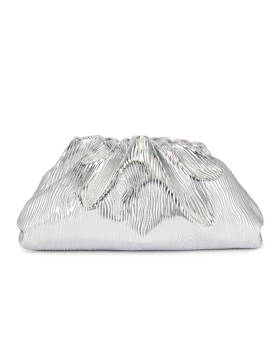 Image 3 of Bottega Veneta Leather Bark Metal Pouch in Silver & Gold