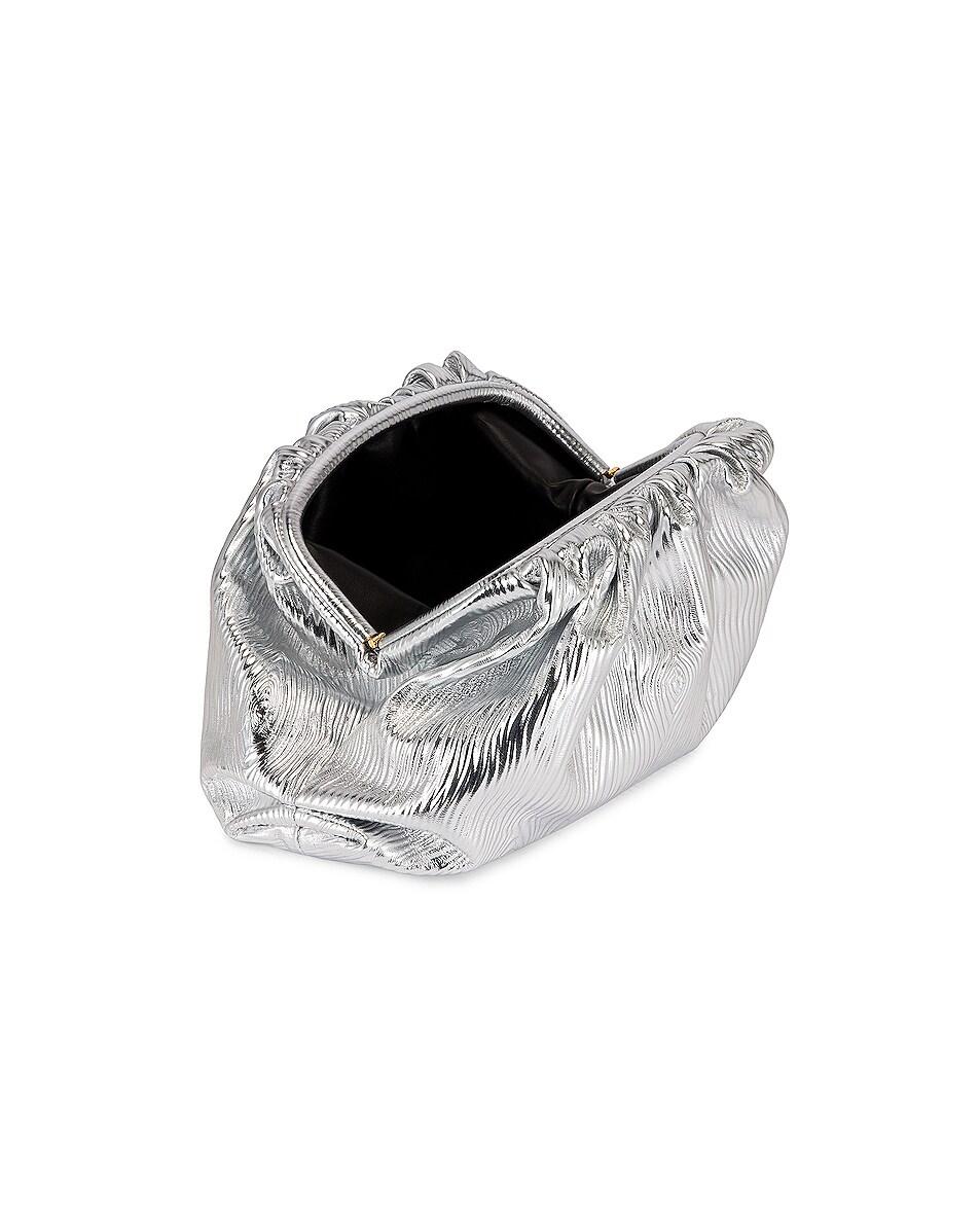 Image 5 of Bottega Veneta Leather Bark Metal Pouch in Silver & Gold