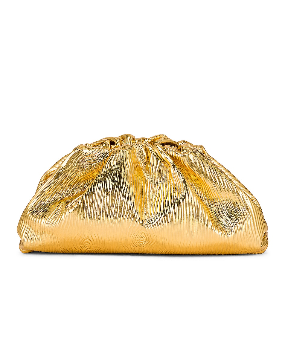 Image 1 of Bottega Veneta Leather Bark Metal Pouch in Gold