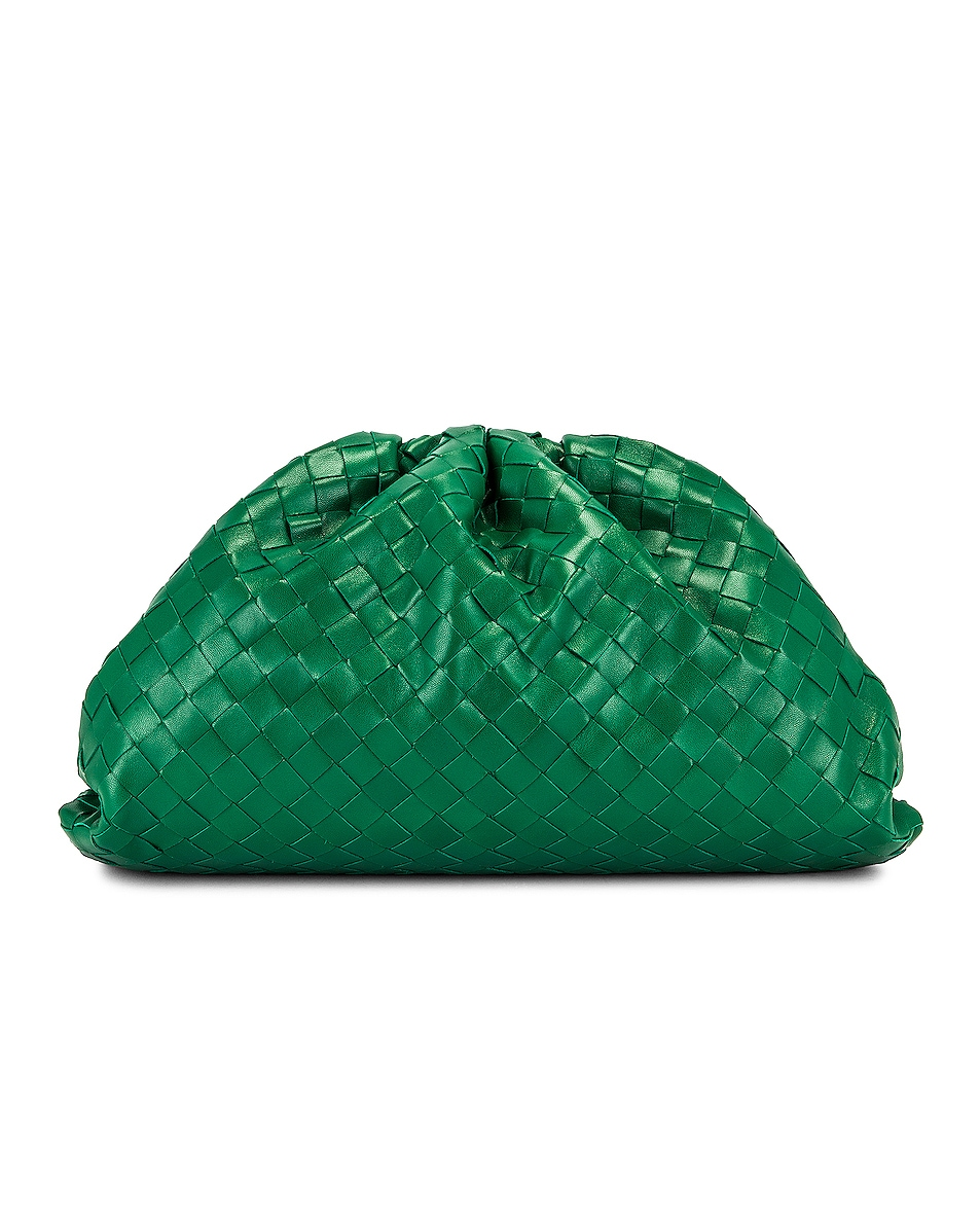 Image 1 of Bottega Veneta Woven The Pouch Clutch in Racing Green & Gold