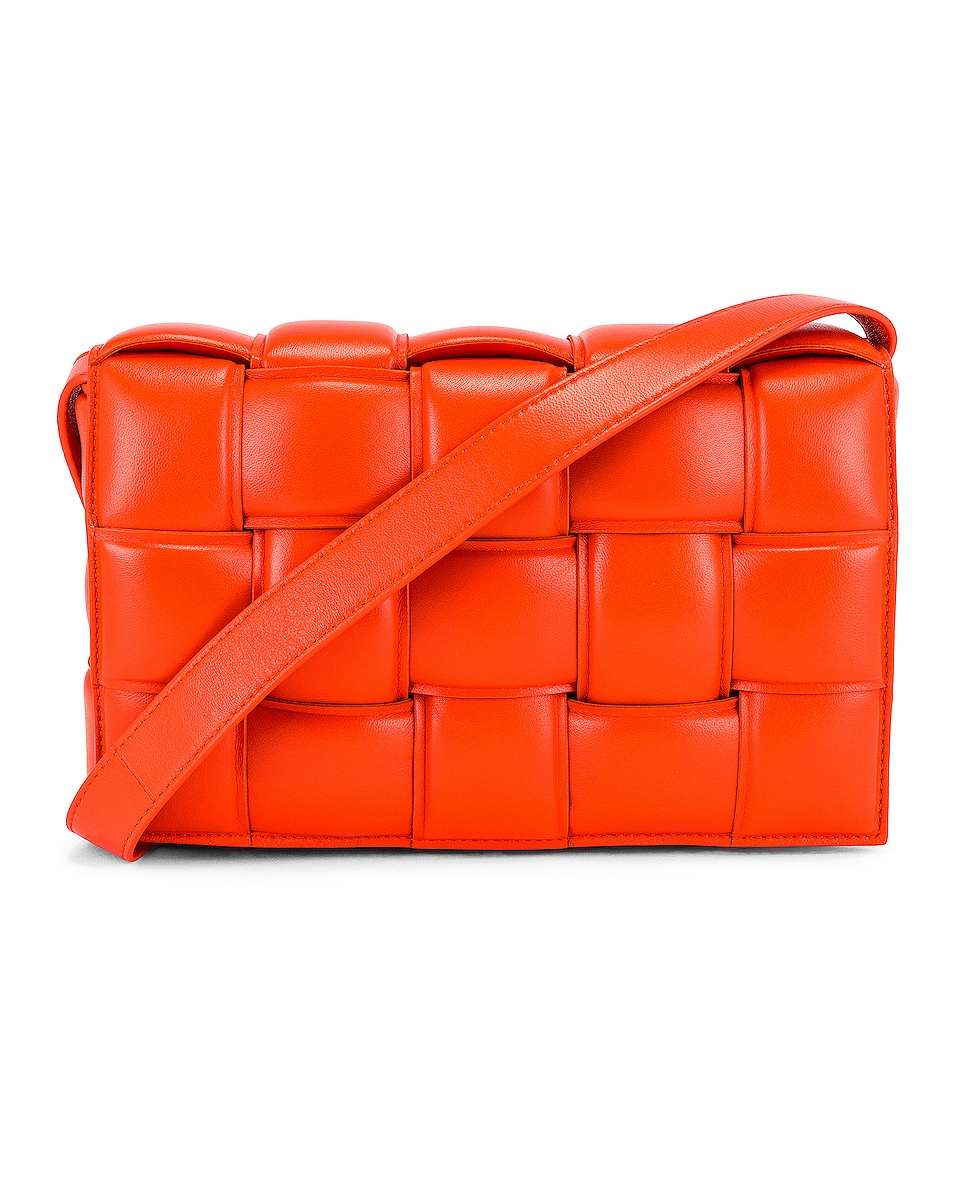Image 1 of Bottega Veneta Padded Cassette Bag in Orange & Gold