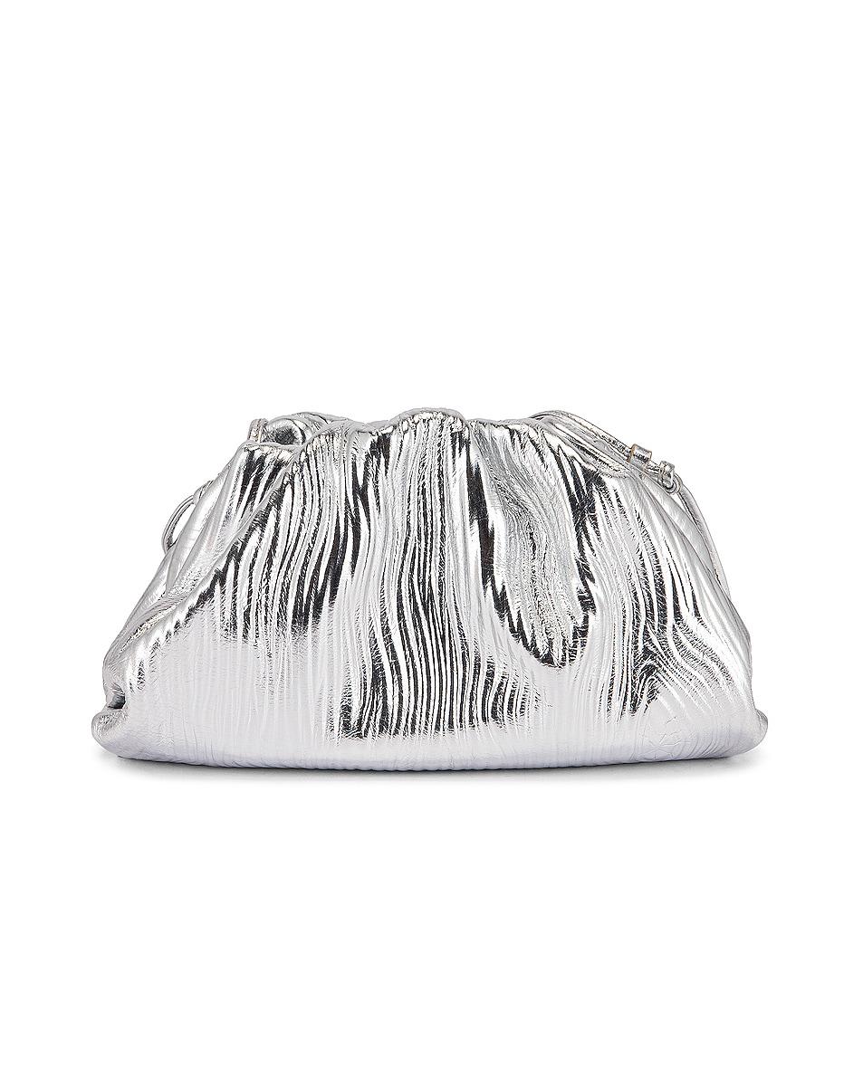 Image 3 of Bottega Veneta Leather Bark Metal Pouch Crossbody Bag in Silver & Gold