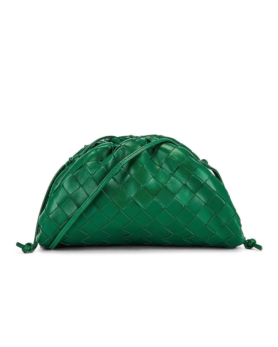 Image 1 of Bottega Veneta Woven The Pouch 20 Clutch Bag in Racing Green & Gold