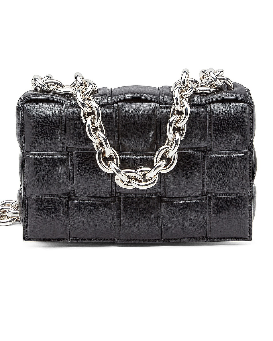 Image 1 of Bottega Veneta Padded Cassette Chain Bag in Black & Silver