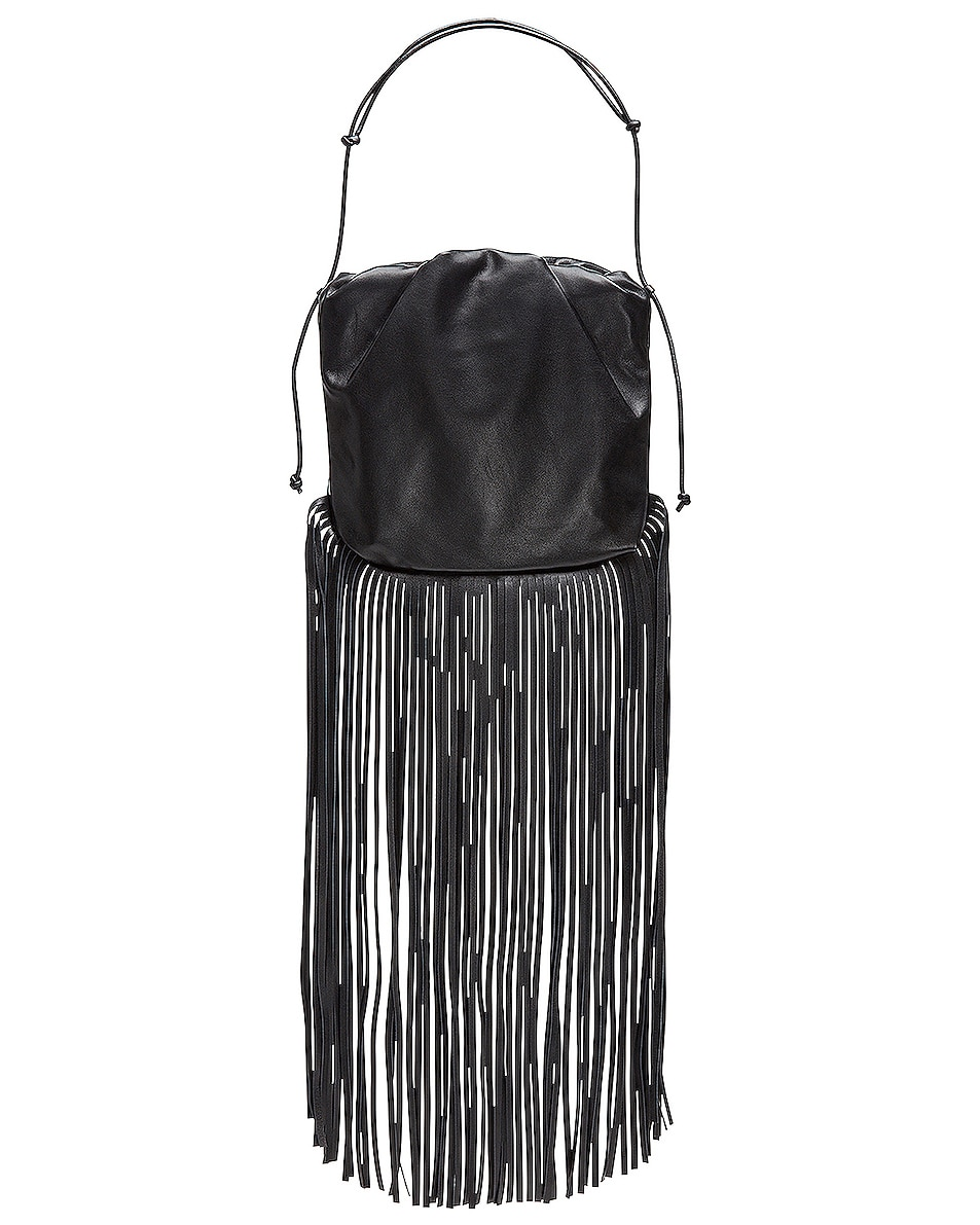 Image 1 of Bottega Veneta Fringe Pouch in Black & Silver