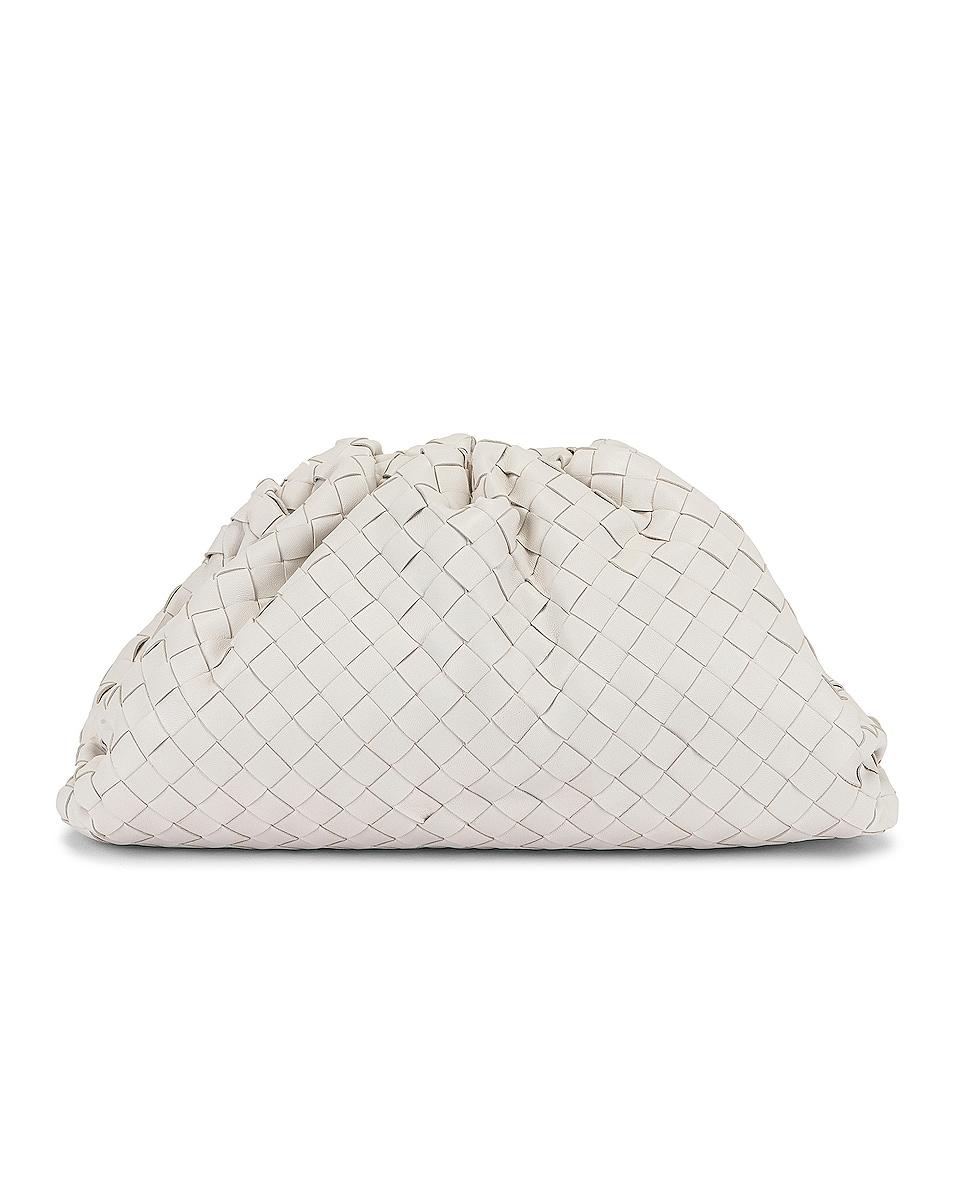 Image 1 of Bottega Veneta The Pouch Clutch in White & Silver