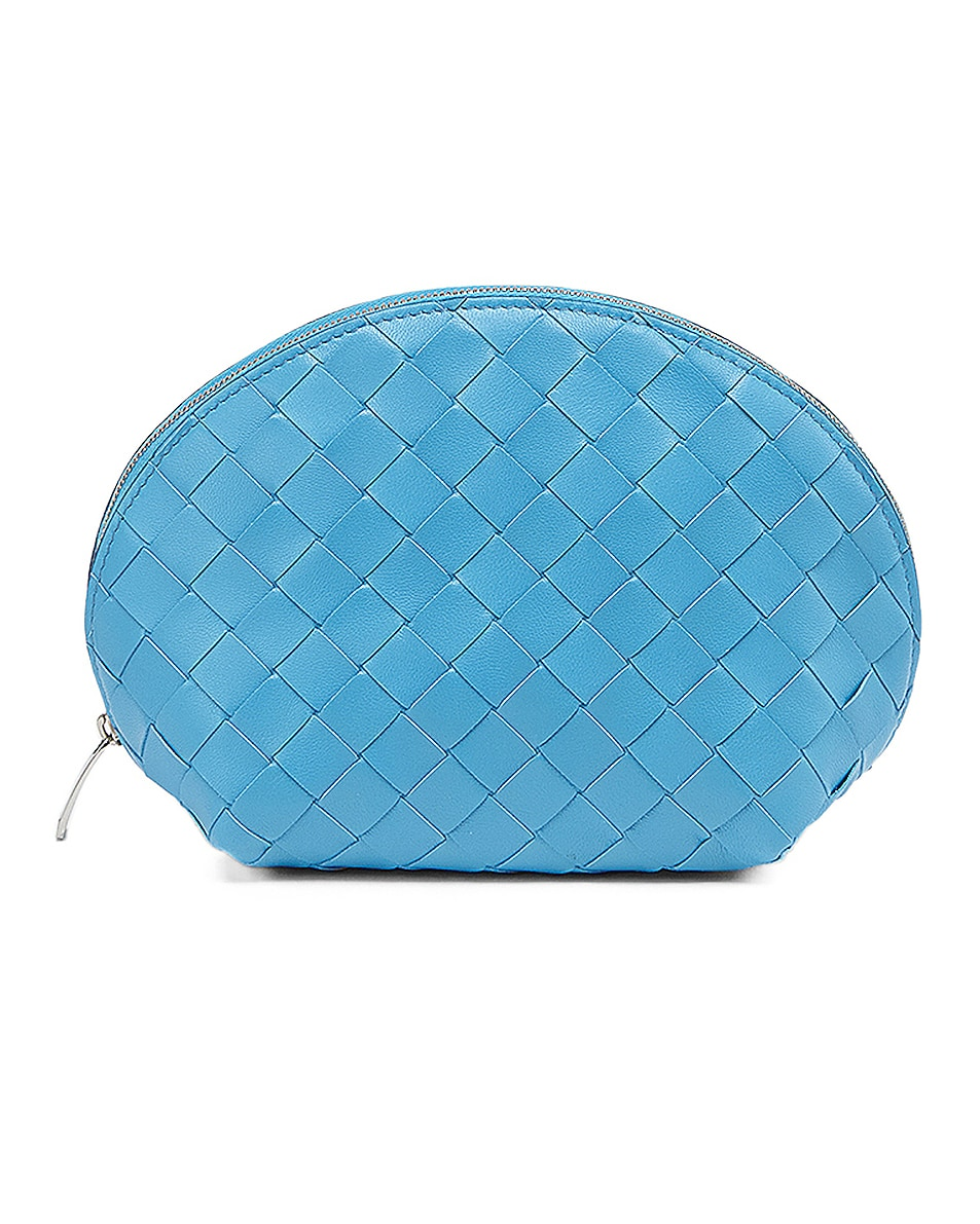 Image 1 of Bottega Veneta Large Intrecciato Cosmetic Case in Swimming Pool & Silver