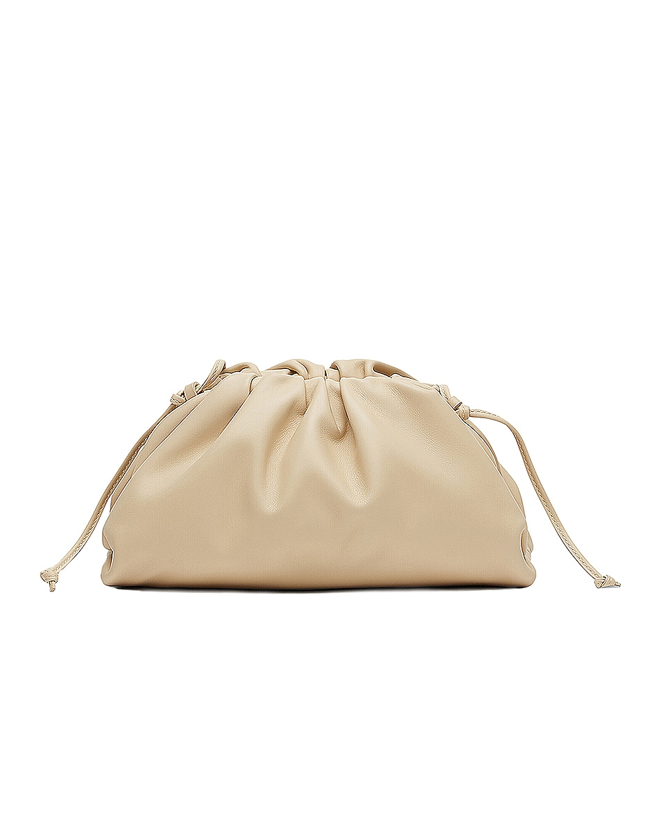 Image 1 of Bottega Veneta Mini Leather Pouch Clutch Crossbody Bag in Porridge & Gold