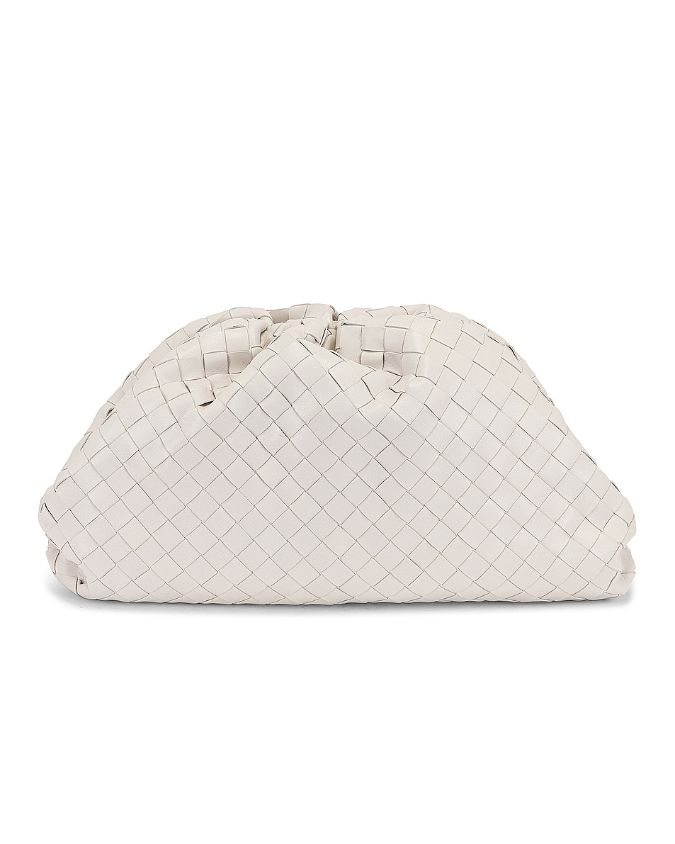 Image 1 of Bottega Veneta Leather Woven Pouch Clutch in Chalk & Gold