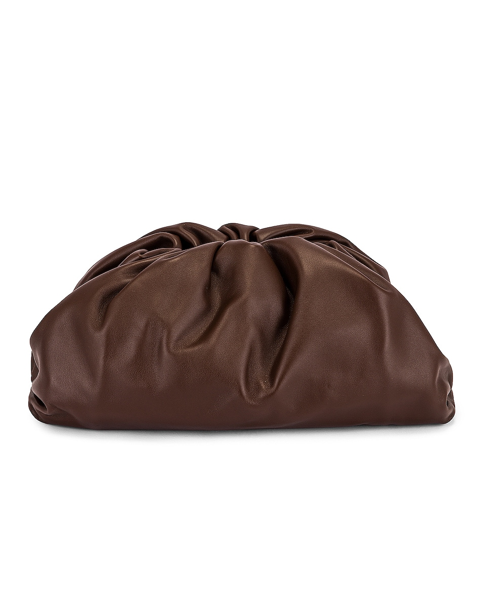 Image 1 of Bottega Veneta Leather Pouch Clutch in Brownie & Gold