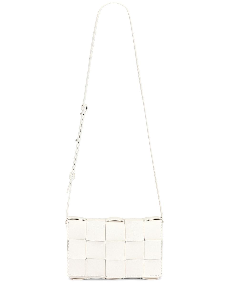 Image 1 of Bottega Veneta Small Woven Cassette Bag in White & Silver
