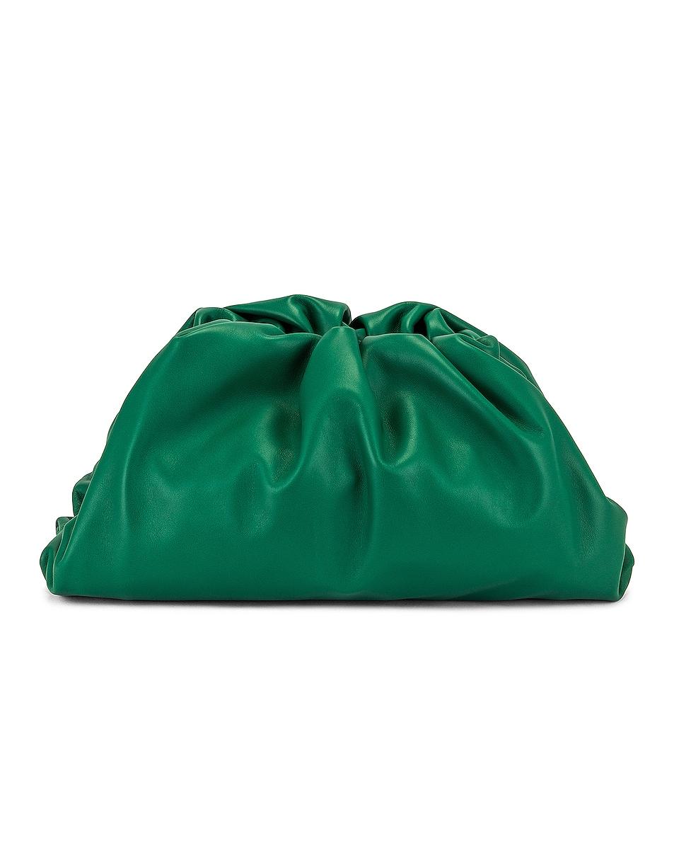 Image 1 of Bottega Veneta The Pouch Clutch in Racing Green & Gold