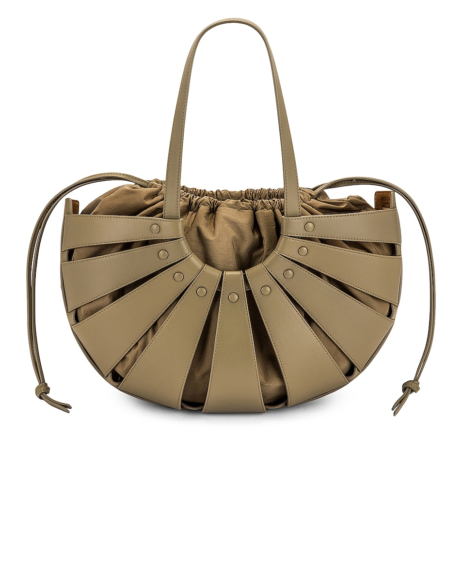 Image 1 of Bottega Veneta The Shell Medium Bag in Taupe & Gold