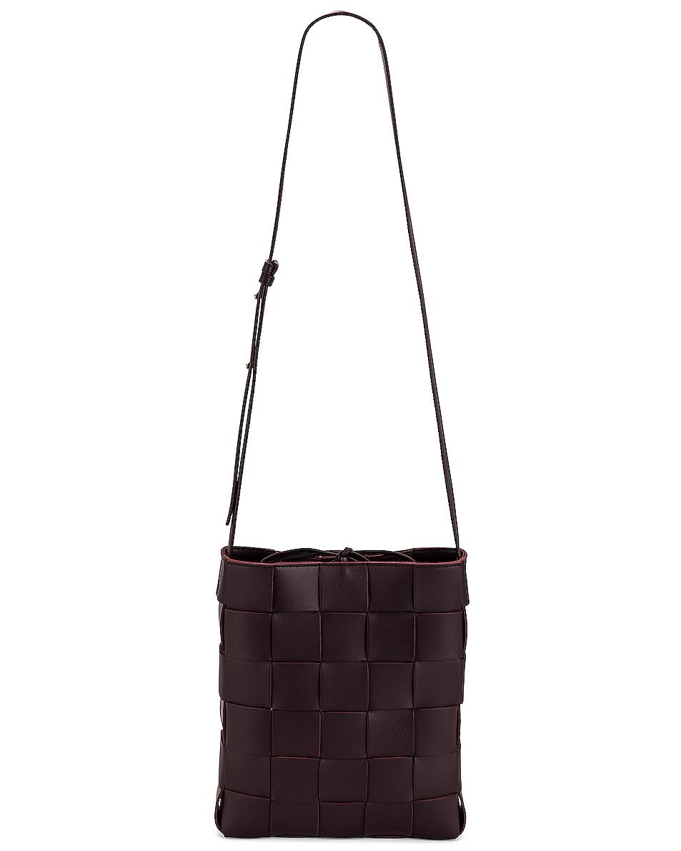 Image 1 of Bottega Veneta Small Intreccio Crossbody Bag in Grape & Gold