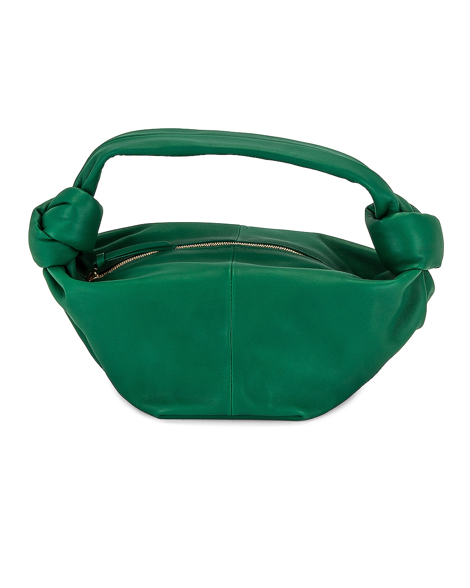 Image 1 of Bottega Veneta Leather Zip Bag in Racing Green & Gold