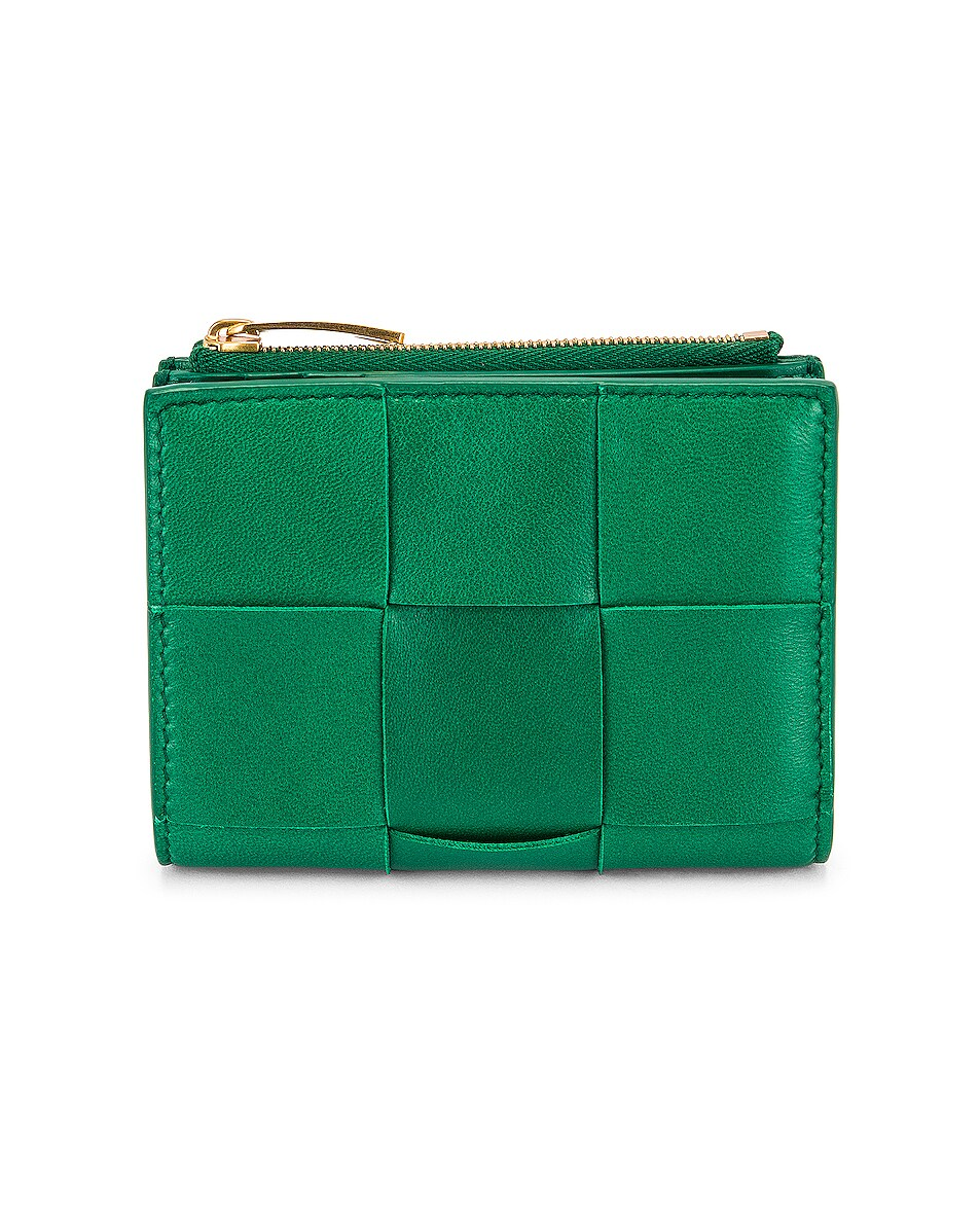 Image 1 of Bottega Veneta Mini Bifold Wallet in Racing Green & Gold