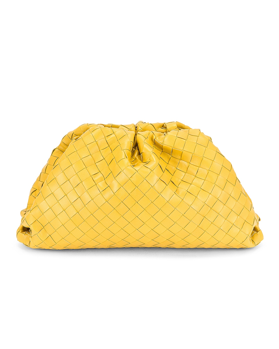 Image 1 of Bottega Veneta Woven The Pouch Clutch in Buttercup & Gold