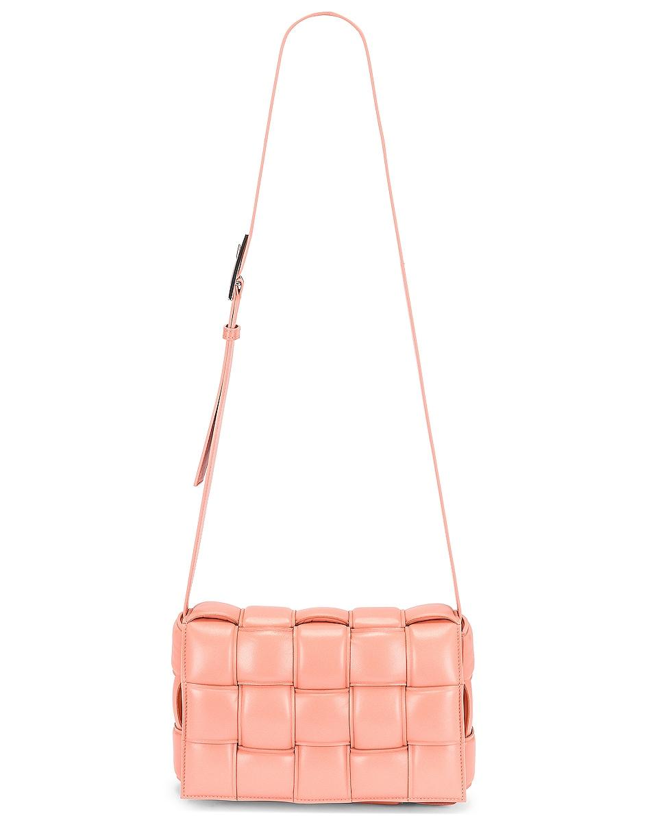 Image 1 of Bottega Veneta Padded Cassette Crossbody Bag in Peachy & Silver