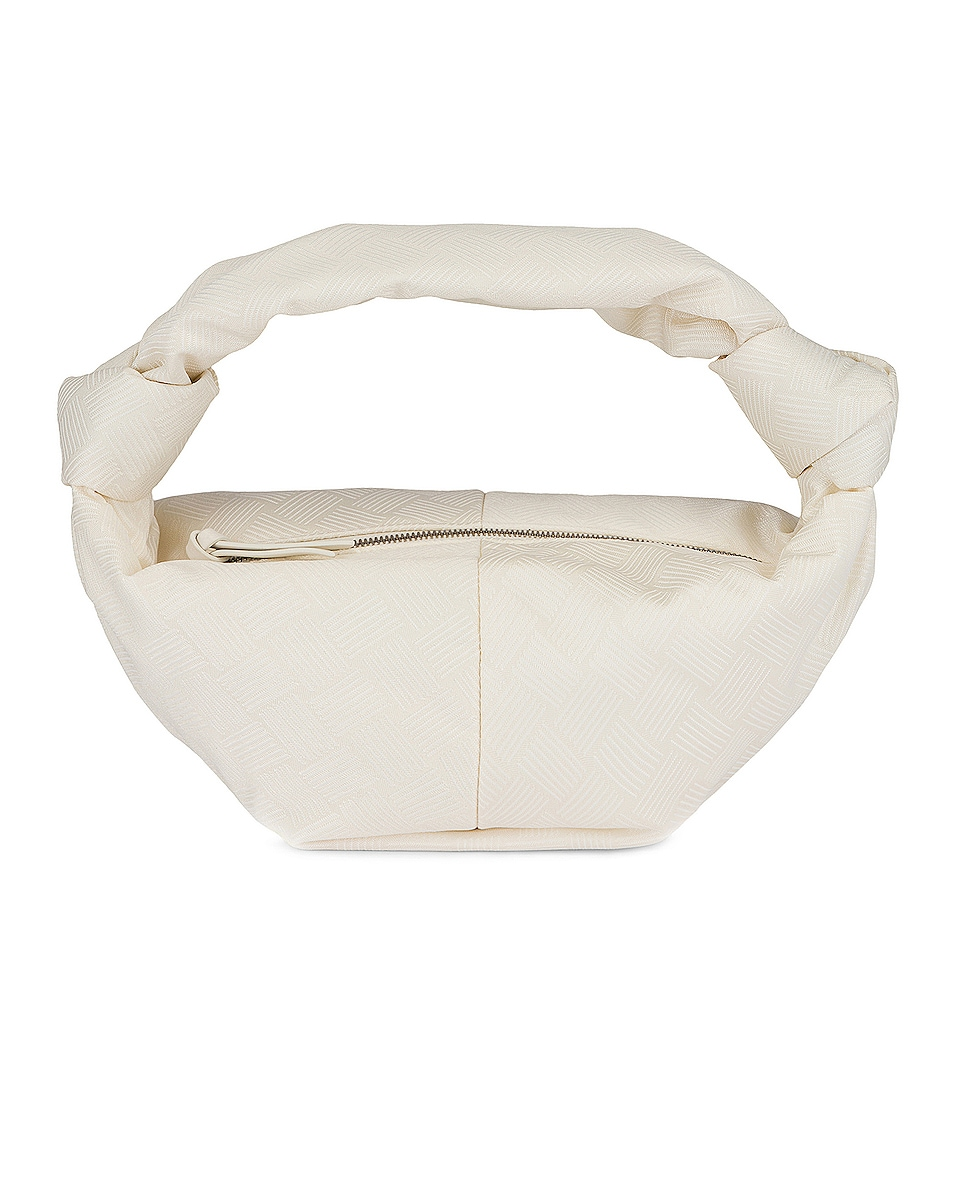 Image 1 of Bottega Veneta Mini Nylon Double Knot Bag in White & Silver