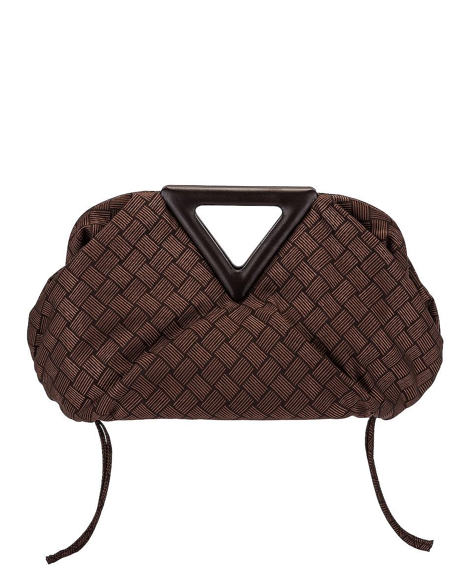 Image 1 of Bottega Veneta Nylon Triangle Handle Pouch in Fondant & Silver