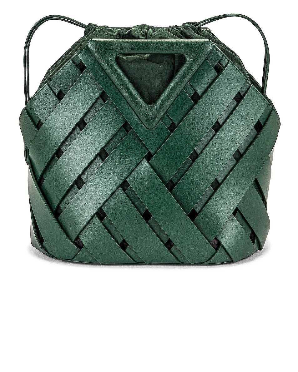 Image 1 of Bottega Veneta The Triangle Basket Landscape Bag in Raintree & Gold