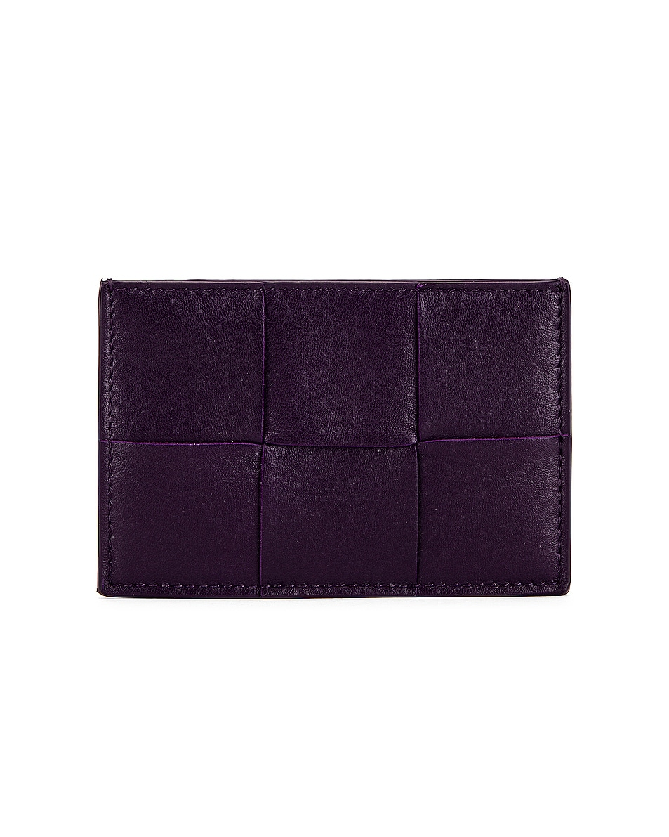 Image 1 of Bottega Veneta The Cassette Card Case in Raisin & Gold