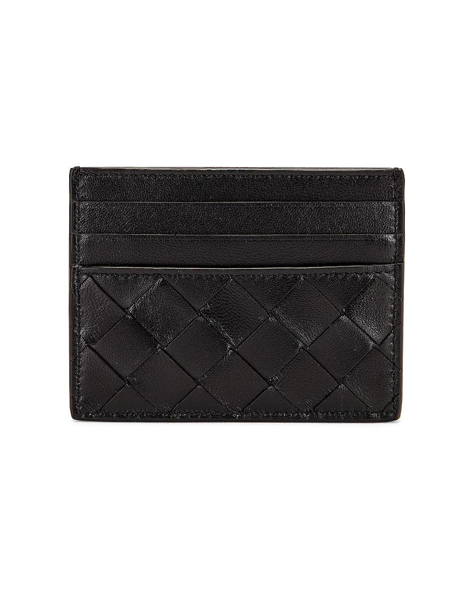 Image 1 of Bottega Veneta Intrecciato Card Case in Black & Gold