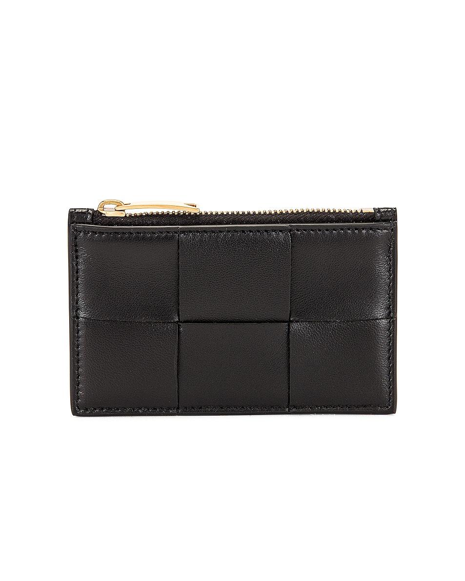 Image 1 of Bottega Veneta Cassette Zipped Card Case in Black & Gold