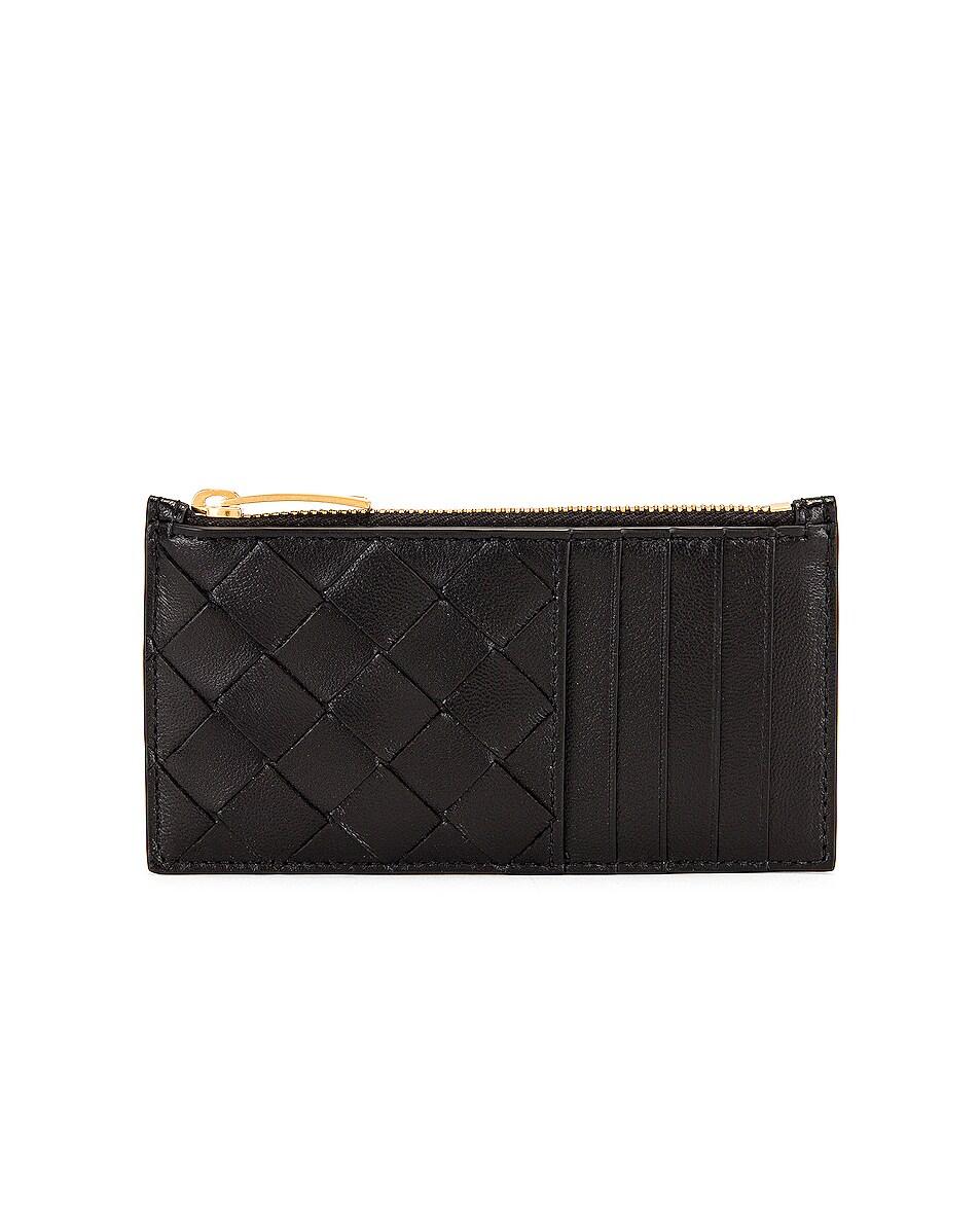 Image 1 of Bottega Veneta Intrecciato Zipped Card Case in Black & Gold