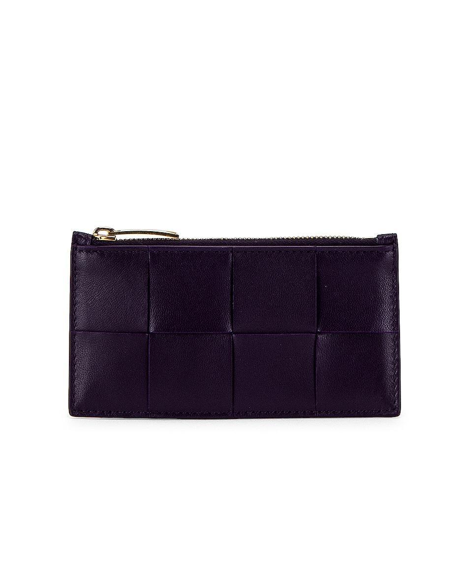 Image 1 of Bottega Veneta The Cassette Zipped Card Case in Raisin & Gold