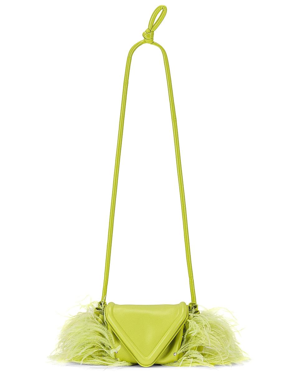 Image 1 of Bottega Veneta Small Triangular Flap Drawstring Crossbody Bag in Seagrass & Silver