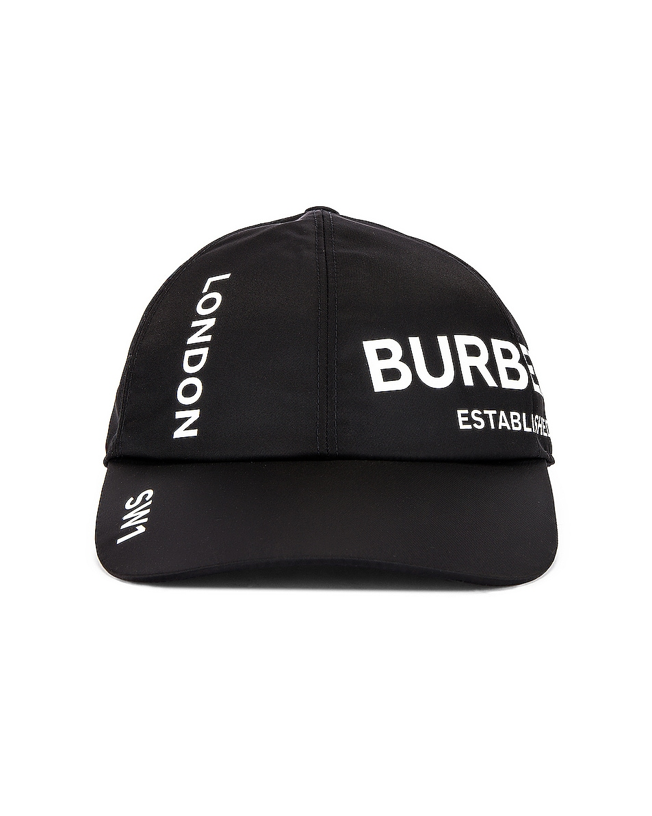 Image 1 of Burberry Printed Baseball Cap in Black