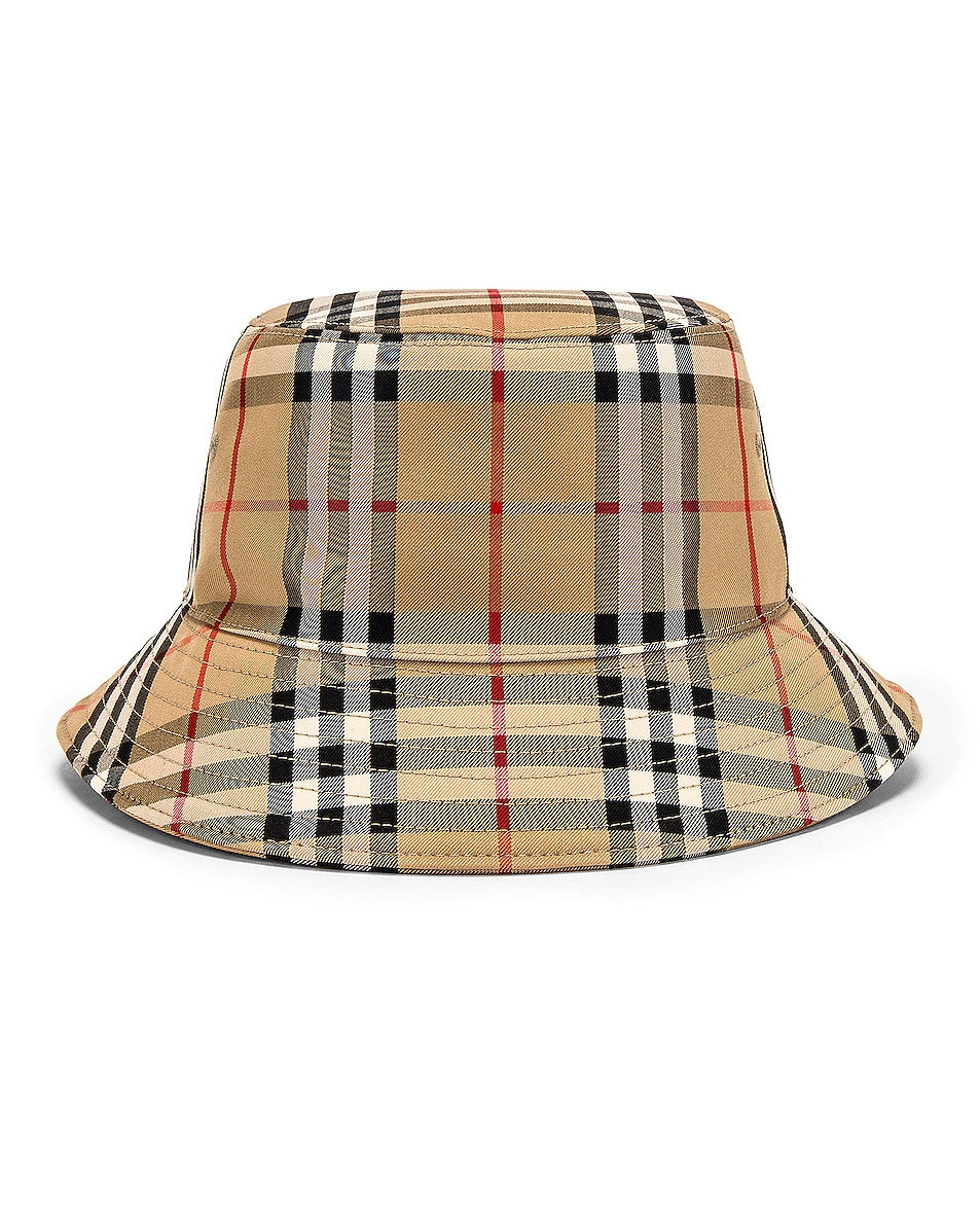 Image 1 of Burberry Heavy Cotton Check Bucket Hat in Archive Beige