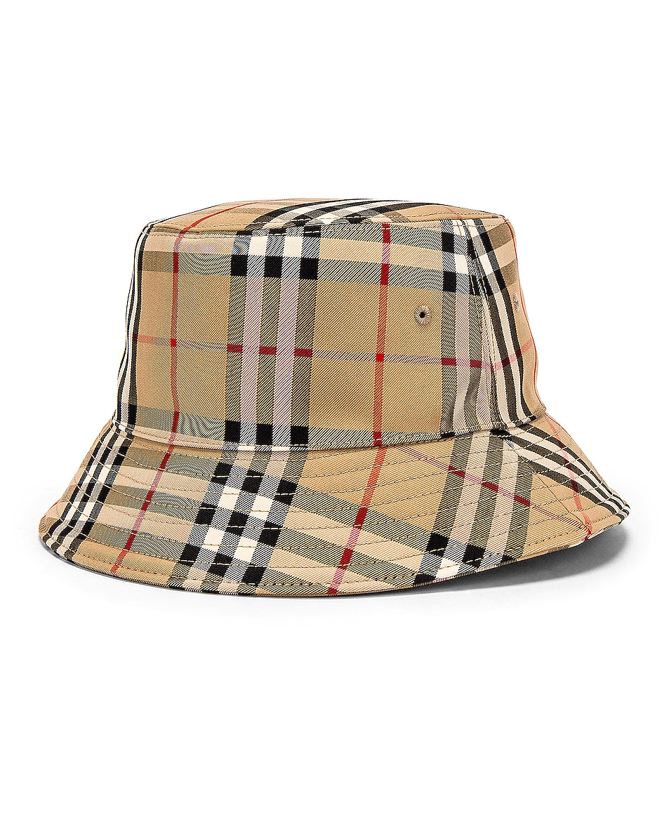 Image 2 of Burberry Heavy Cotton Check Bucket Hat in Archive Beige