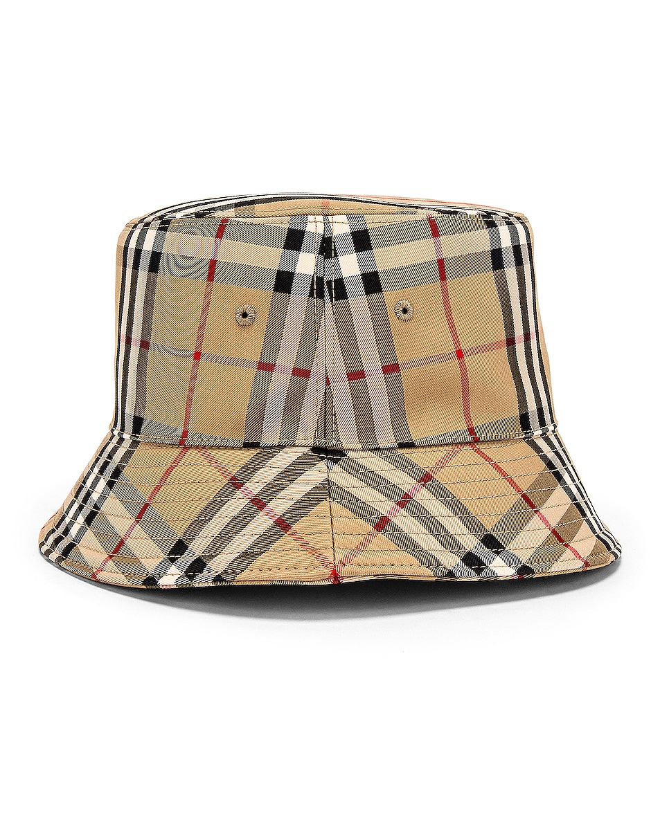 Image 3 of Burberry Heavy Cotton Check Bucket Hat in Archive Beige