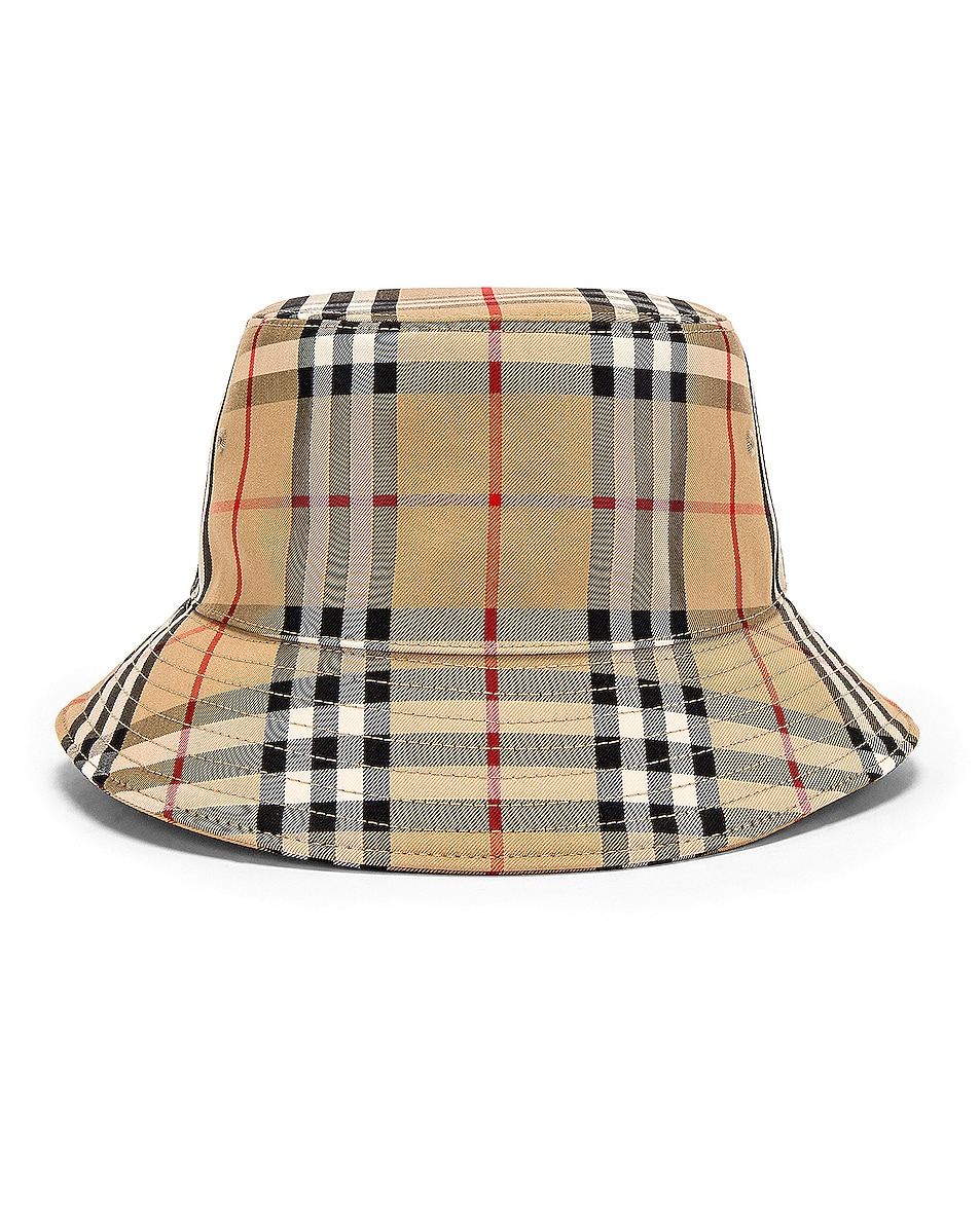 Image 4 of Burberry Heavy Cotton Check Bucket Hat in Archive Beige