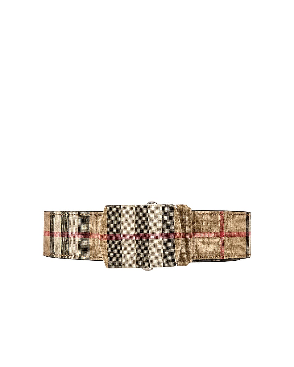Image 1 of Burberry Vintage Check E-Canvas Belt in Archive Beige