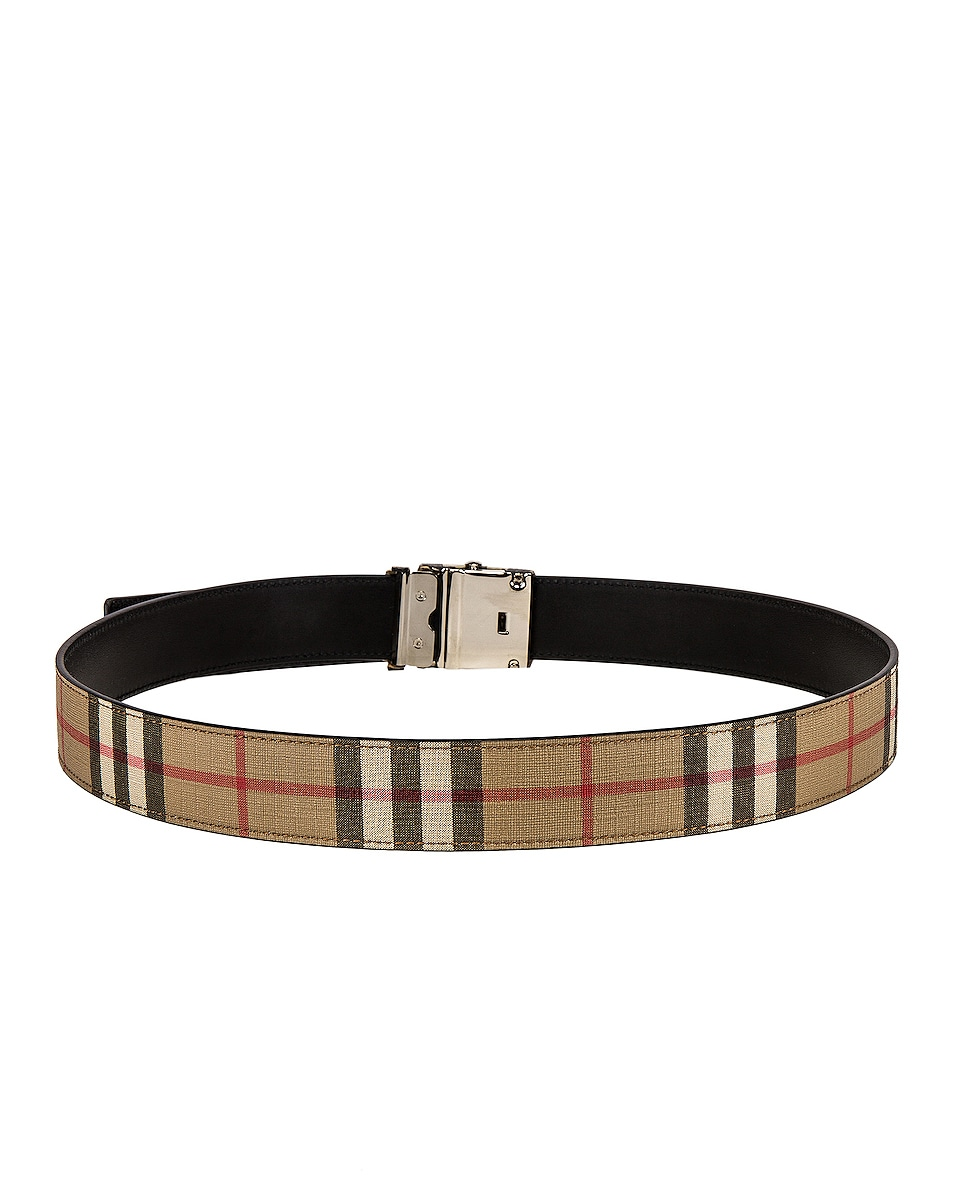 Image 3 of Burberry Vintage Check E-Canvas Belt in Archive Beige
