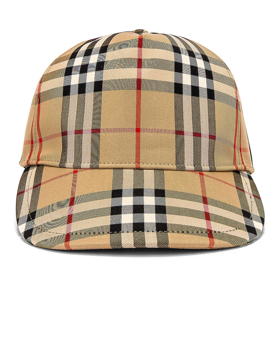 Image 1 of Burberry Heavy Cotton Check Trucker Cap in Archive Beige