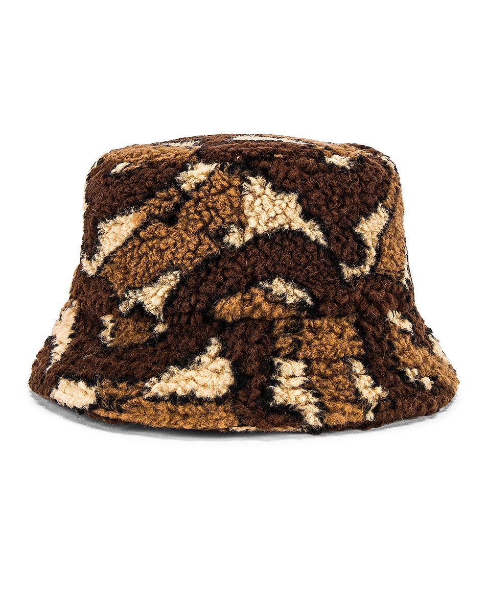 Image 3 of Burberry Fleece Bucket Hat in Bridle Brown IP Pattern